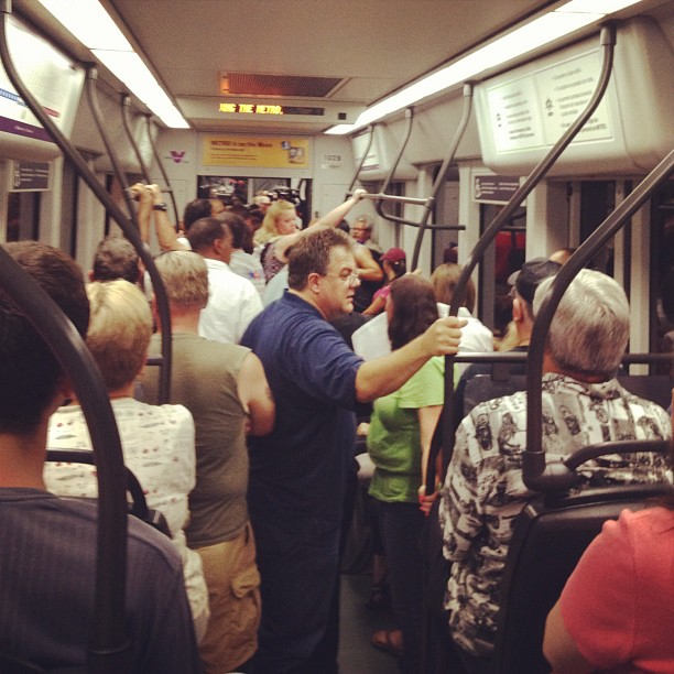 Light rail is full of people coming to America! Errrr Neil Diamond (@neildiamond)