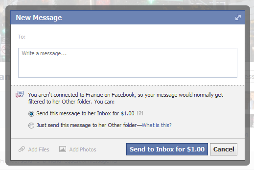Facebook is charging $1 for messages