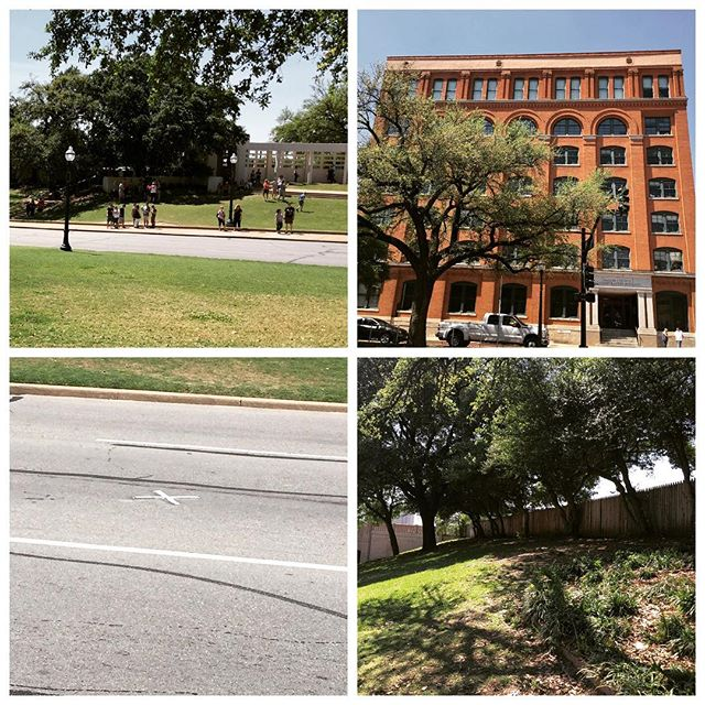 Dealey Plaza, Texas Book Depository, grassy knoll and spot JFK was shot.